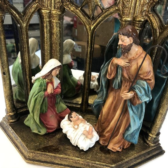 Holy Family Scene with Cathedral Mirror Backdrop